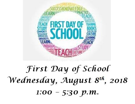 Graphic that says that the first day of school for the High School at Moorpark College will be Wednesday, August 8, 2018 from 1 00 PM to 5 30 PM.